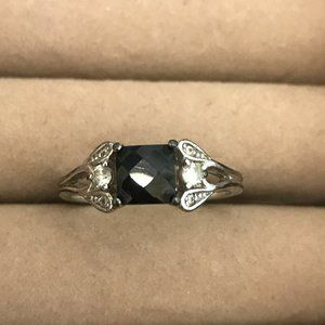 Avon Sterling Silver Genuine Black Sapphire Ring